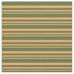 [ Thumbnail: Brown and Dark Olive Green Colored Pattern Fabric ]