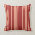 [ Thumbnail: Brown and Dark Salmon Colored Lined Pattern Pillow ]