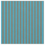 [ Thumbnail: Brown and Deep Sky Blue Colored Pattern Fabric ]