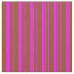 [ Thumbnail: Brown and Fuchsia Stripes Fabric ]