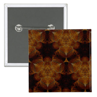 Brown and Gold Abstract Art Pattern 2 Inch Square Button