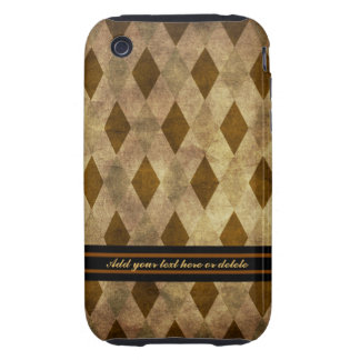 Brown and Gold Argyle Case-Mate Tough iPhone 3 Cover