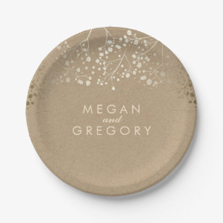 Brown and Gold Baby's Breath Wedding Paper Plate