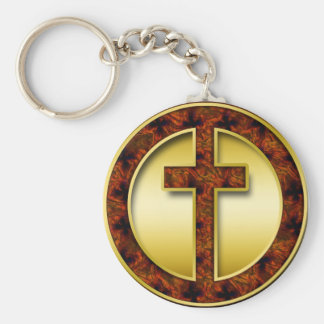 BROWN AND GOLD CROSS BASIC ROUND BUTTON KEYCHAIN