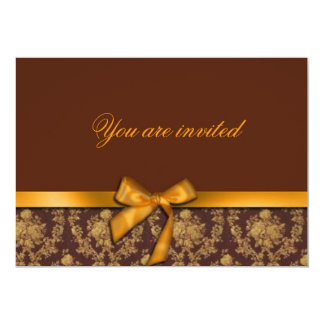 Brown and Gold Damask Party Invitation