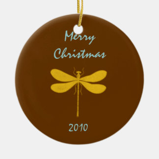 Brown and Gold Dragonfly Christmas Tree Ornaments