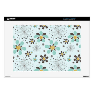 "BROWN AND GOLD FLOWERS 15"" LAPTOP DECAL"