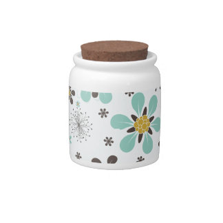 BROWN AND GOLD FLOWERS CANDY JARS