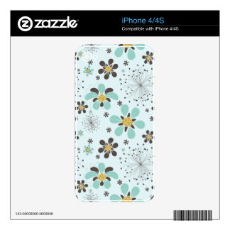 BROWN AND GOLD FLOWERS DECALS FOR THE iPhone 4
