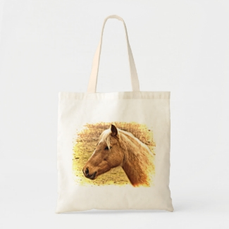 Brown and Gold Horse Animal Tote Bag