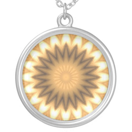Brown and gold kaleidoscope design necklace