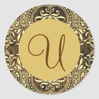 BROWN and GOLD Monogram  Damask Wedding V17 Classic Round Sticker