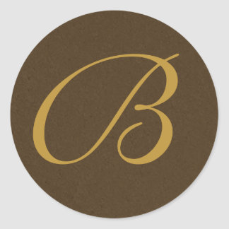 brown and gold Monogrammed Envelope Seals Stickers