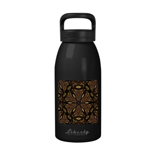 Brown And Gold Pattern Reusable Water Bottles