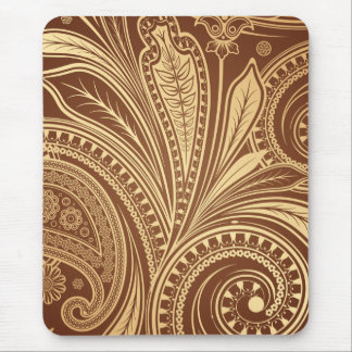 Brown and gold pattern with paisley mouse pad