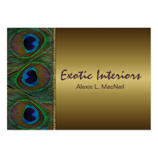 Brown and Gold Peacock Feathers Business Card
