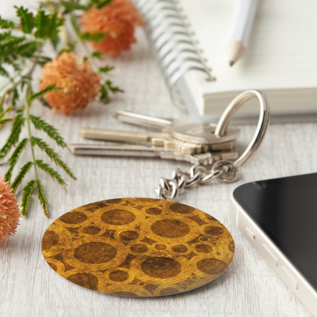 Brown and Gold Steampunk Abstract Keychain