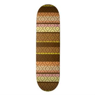 Brown and Gold Stripes Diamond Geometric Pattern Skate Board Decks