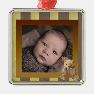 Brown and Gold Teddy Bear Baby Photo Ornament