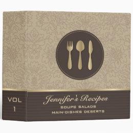 Brown And Gold Tones Vintage Damasks Recipes 3 Ring Binder