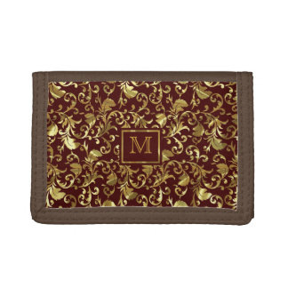 Brown And Gold Traditional Vintage Floral Damasks Tri-fold Wallets