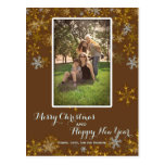 Brown and Gold Vertical Christmas Photo Postcard