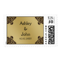 Brown and Gold Wedding Postage