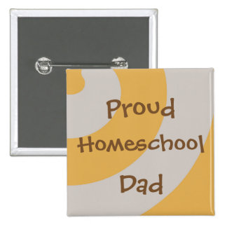 Brown and Gray Proud Homeschool Dad Pinback Button