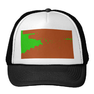 brown and green abstract art trucker hat