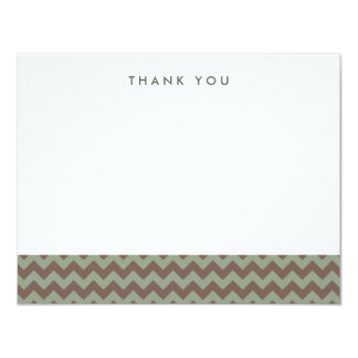 "Brown and Green Chevron Thank You Note Cards 4.25"" X 5.5"" Invitation Card"