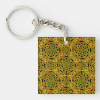 Brown and green circles Double-Sided square acrylic keychain