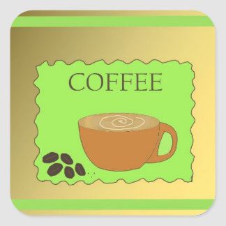 Brown and Green Coffee Sign Square Sticker