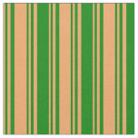 [ Thumbnail: Brown and Green Colored Lines Fabric ]
