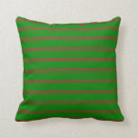 [ Thumbnail: Brown and Green Colored Pattern of Stripes Pillow ]