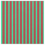[ Thumbnail: Brown and Green Colored Stripes Pattern Fabric ]