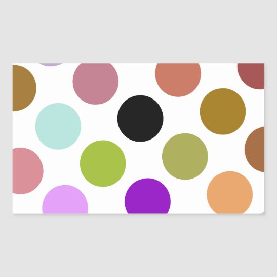 Brown And Green Colorful Dots Rectangular Sticker