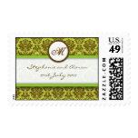Brown and Green Damask Monogram Wedding Stamp