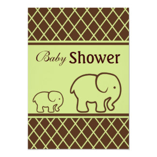 Brown and Green Elephants and Diamonds Baby Shower Personalized Invitations
