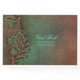 Brown and Green Fall Wedding Guest Book