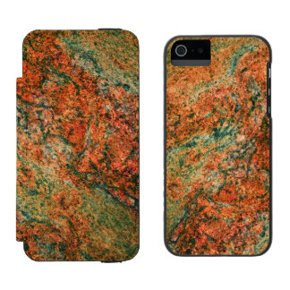 Brown And Green Faux Marble Stone Wallet Case For iPhone SE/5/5s