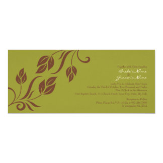 Brown and Green Floral Leaves Wedding Invitation