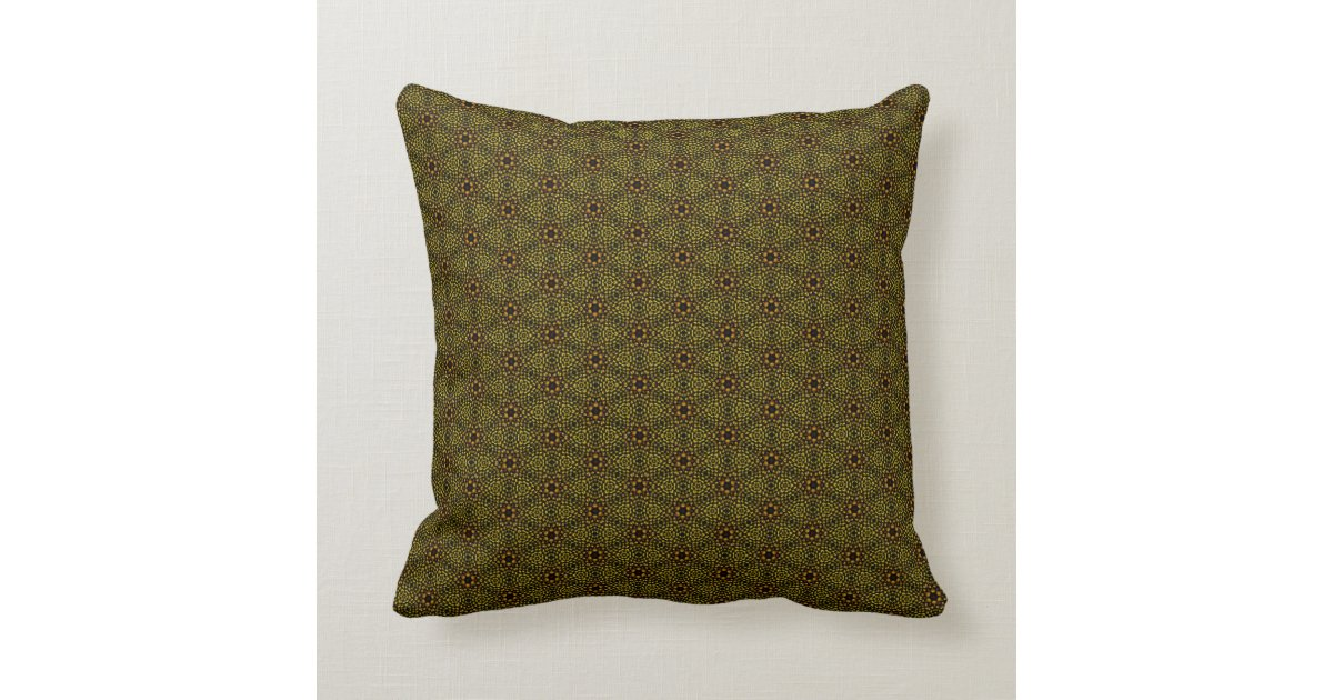 Brown and Green Floral Throw Pillow Zazzle