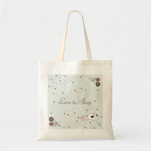 Brown and Green Flowers and Lovebirds Tote Bag