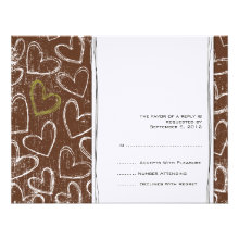 Brown and Green Grunge Hearts Wedding RSVP Invitations