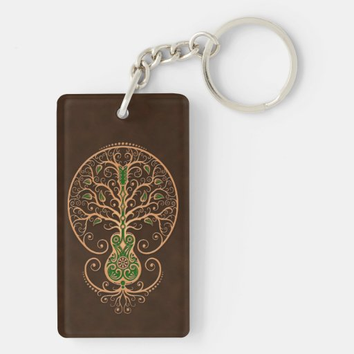 Brown and Green Guitar Tree of Life Acrylic Key Chains