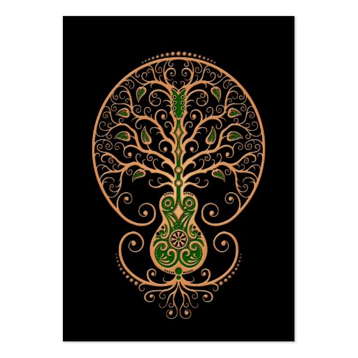 Brown and Green Guitar Tree of Life on Black Business Cards