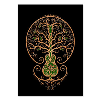 Brown and Green Guitar Tree of Life on Black Large Business Card