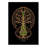 Brown and Green Guitar Tree of Life on Black Large Business Cards (Pack Of 100)