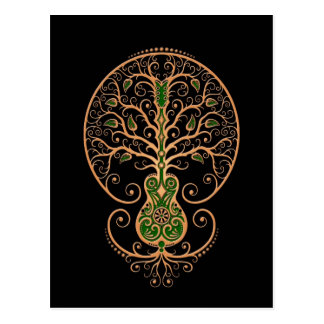 Brown and Green Guitar Tree of Life on Black Post Card