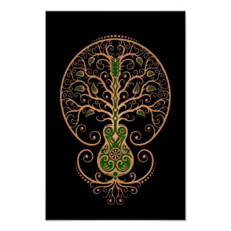 Brown and Green Guitar Tree of Life on Black Print